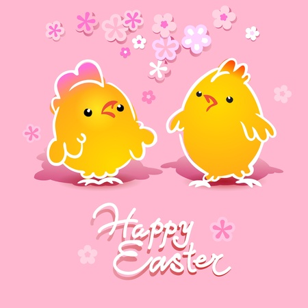 christian festival: Easter card with two chickens (rooster and hen) on a pink background. Vector illustration.