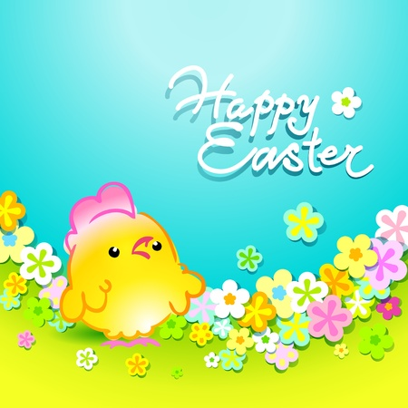 Easter card with a nice chicken in a meadow with flowers. Vector illustration. Vector