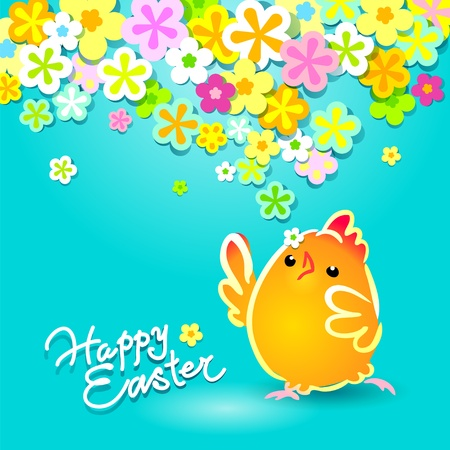 Easter card with a funny chicken on a blue background with flowers. Vector illustration. Vector