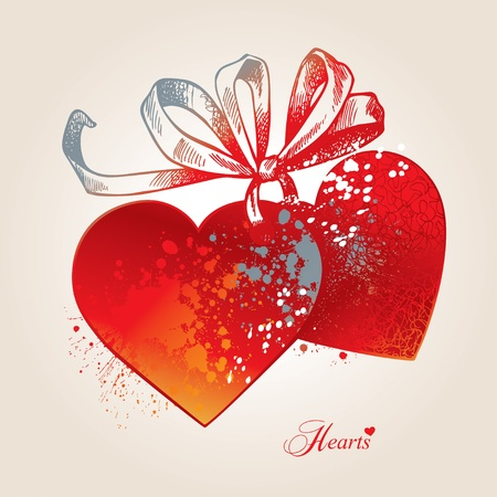 heart sketch: Valentine card with two hearts, bow and ribbons on a beige background. Hand drawn illustration, vector.