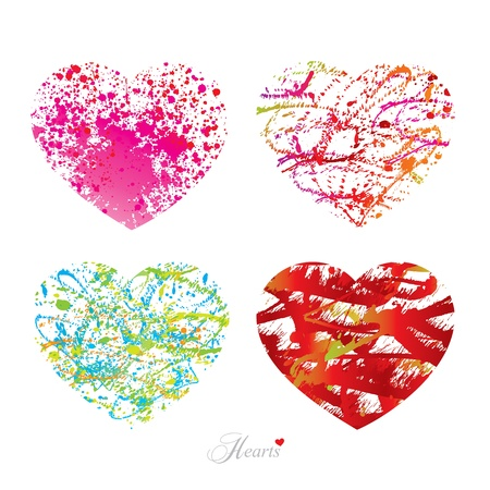joyfulness: Four different hearts with drops, spots and sprays from a brush. Vector illustration.