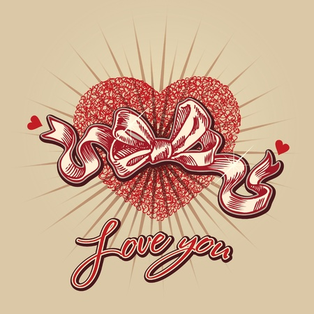 Valentine card with heart, bow and lettering on a beige background. Hand drawn illustration, vector. Vector