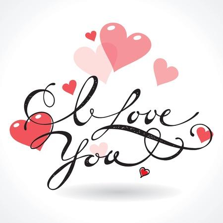 te negro: Tarjeta de San Valentín con letras I Love You. Ilustración vectorial. Vectores