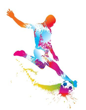 lucifers: Voetballer schopt de bal. Vector illustratie. Stock Illustratie