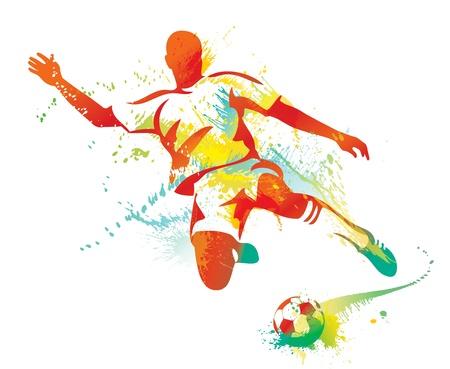 portero: El jugador de fútbol patea la pelota. Ilustración vectorial.