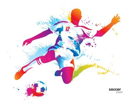 Joueur de football botte le ballon. L'illustration vectorielle coloré avec des gouttes et des embruns.
