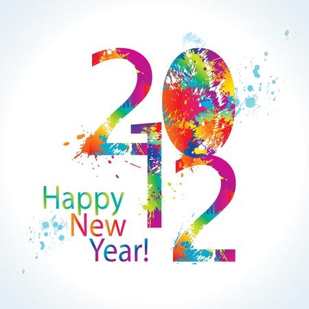 カラフルな新年のカード 2012年を削除し、白い背景の上にスプレーします。ベクトル イラスト。  イラスト・ベクター素材