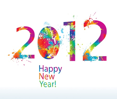 New Year's card 2012 with colorful drops and sprays on a white background. Vector illustration. Stock Vector - 10737731