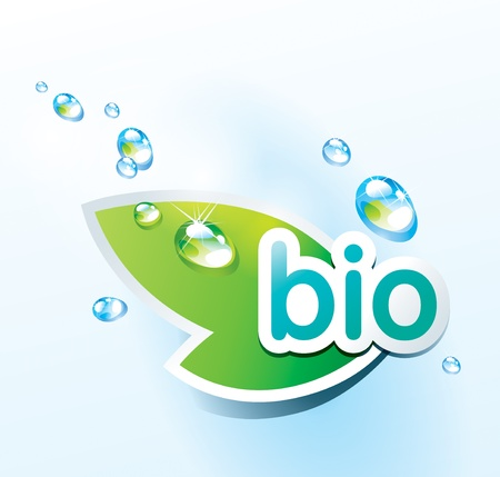 Icon bio with a green leaf and water drops. Vector illustration.