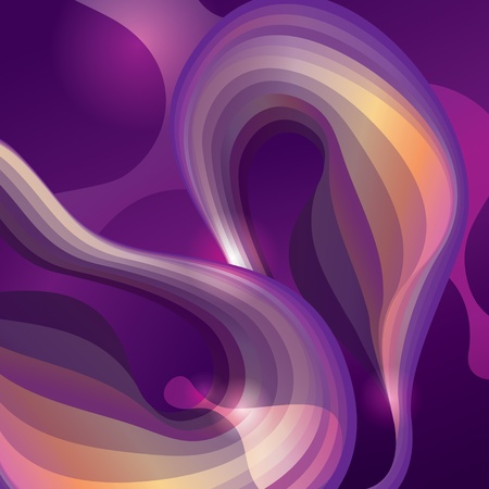 Abstract violet background with transforming shining forms. Vector illustration. Vector