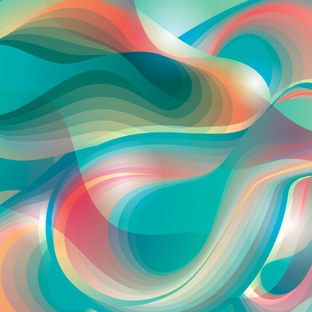 Abstract turquoise background with transforming forms. Vector illustration.