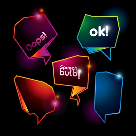 oops: Set of abstract speech bubbles on the dark background. Vector illustration.