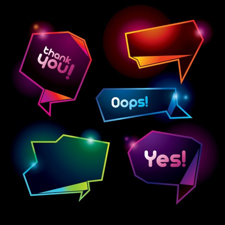 Set of colorful speech bubbles on the dark background. Vector illustration.