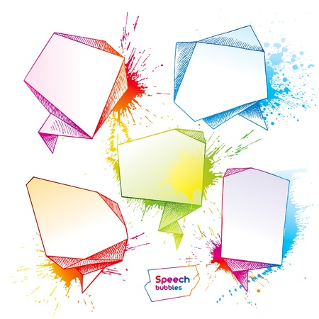Set of hand drawn speech bubbles with drops and spray on a white background. Vector illustration. Vector