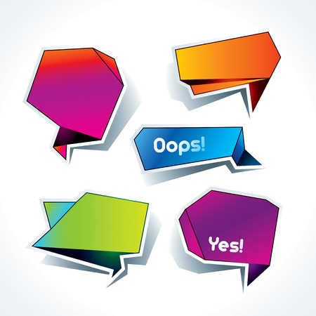 oops: Set of colorful speech bubbles on the white background. Vector illustration.