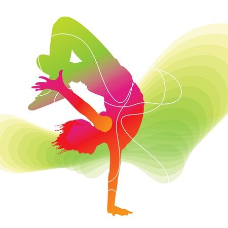 De danser. Kleurrijke silhouet met lijnen op abstracte achtergrond. Vector illustratie.