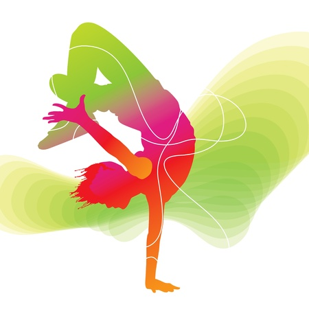 hip hop silhouette: The dancer. Colorful silhouette with lines on abstract background. Vector illustration.