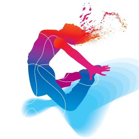 dance hip hop: El bailar�n. Silueta colorida con l�neas y sprays sobre fondo abstracto. Ilustraci�n del vector.