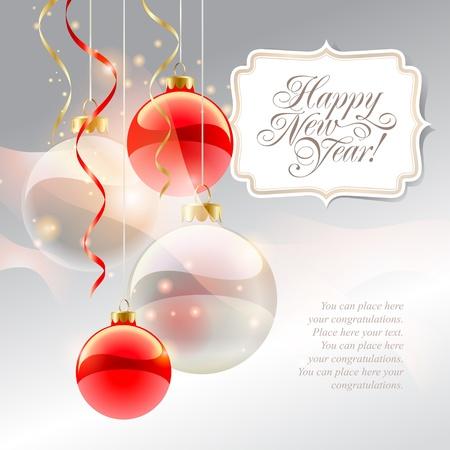 Carte de Noël avec des boules rouges et inscription sur un fond argenté. Vector illustration.