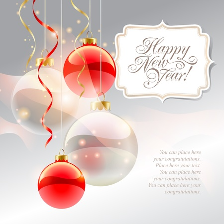 inscription: Christmas card with red baubles and inscription on a silver background. Vector illustration.