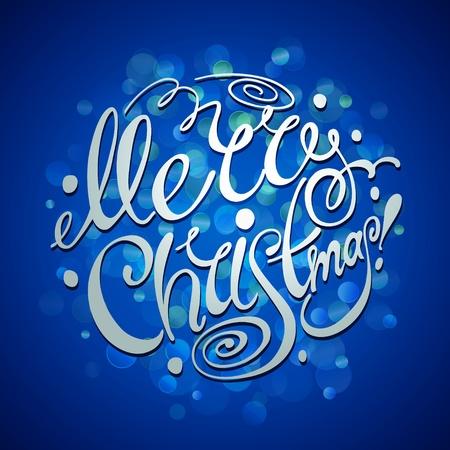 青色の背景にクリスマス カード クリスマス レタリング。ベクトル イラスト。