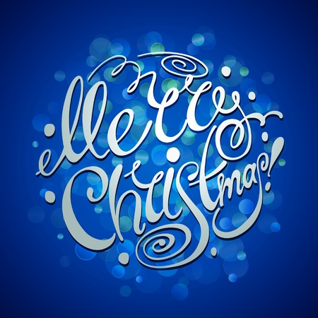 type lettering: Christmas Card. Merry Christmas lettering on a blue background. Vector illustration.