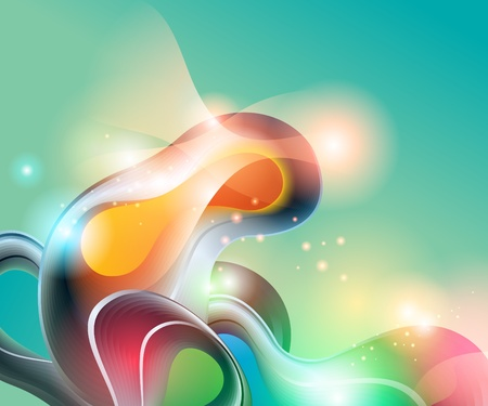 Abstract aquamarine background with transforming shining forms. Vector illustration.
