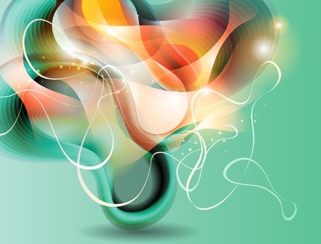 metamorphose: Abstract background with transforming shining forms. Vector illustration.