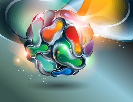 Abstract shining ball from transforming forms on a dark background. Vector illustration.