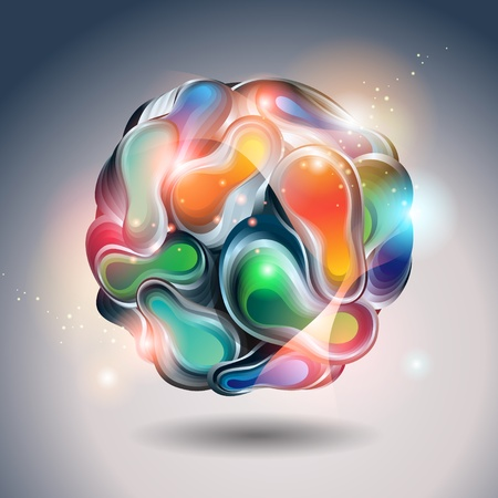 Abstract shining ball from transforming forms on a gray background. Vector illustration. Çizim