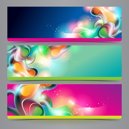 Set of banners and headers with abstract shining forms. Vector illustration.