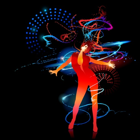 The dancing girl with shining splashes on a black background.