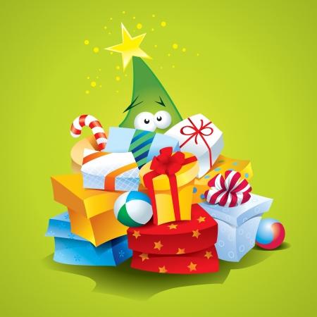 緑の背景にカラフルな包装のプレゼントの多くと面白いクリスマス ツリー