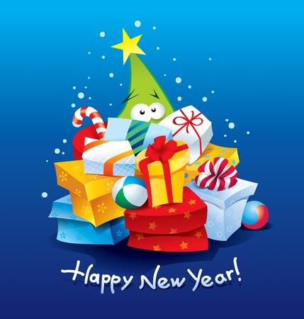 暗い青色の背景にカラフルな包装のプレゼントの多くと面白いクリスマス ツリー