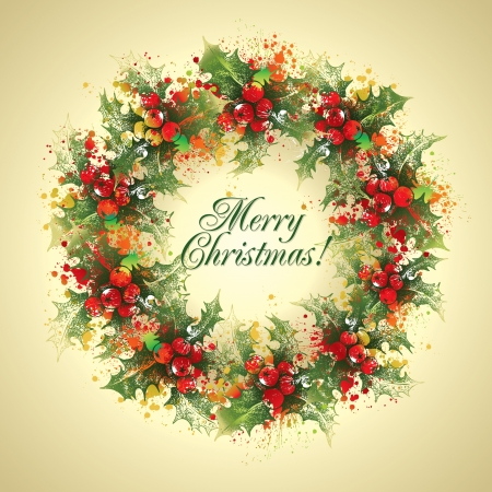 Christmas card. The holly wreath with drops and sprays on a beige background Vector