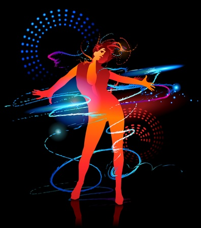 supermodel: The dancing girl with shining splashes on a black background Illustration