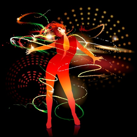 The dancing girl with shining splashes on a dark background.  Çizim