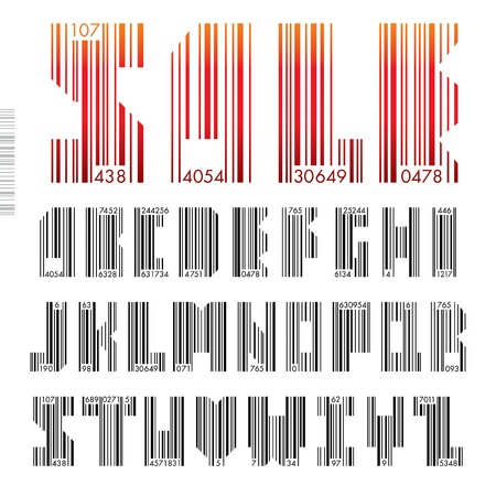 Font Barcode - letters from A to Z illustration. Vector