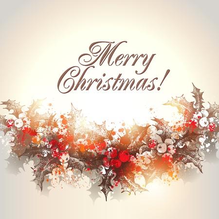 クリスマス手はヒイラギの花輪、ベージュの背景イラストに描画されます。