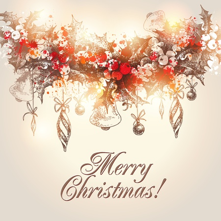 corona navidad: Mano de navidad dibujadas acebo guirnalda con adornos de Navidad en una ilustración de fondo beige.