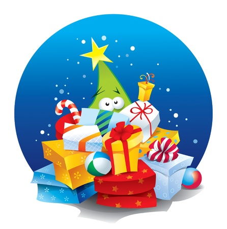Funny Christmas tree with lots of gifts in a colorful packaging on a background of blue circle illustration. Vector