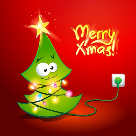 Funny Christmas tree wrapped by a glowing garland which is included in the electric socket illustration. Vector