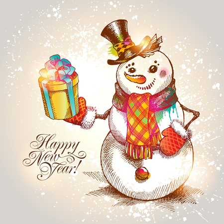 Christmas. Hand drawn Snowman with gift on a beige background illustration. Vector