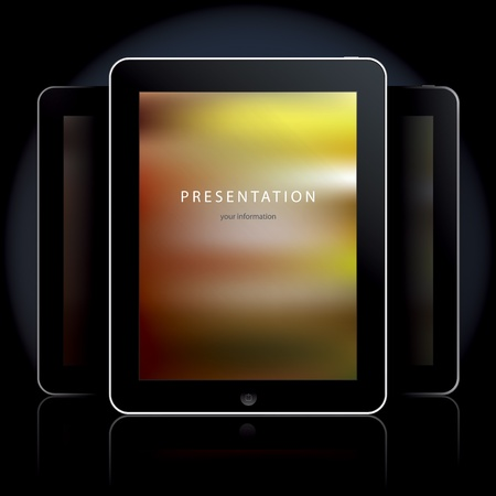 tablet pc: Tablet computers on the black background illustration. Illustration