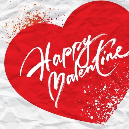 Valentine karta s nápisem a spreje na pozadí srdce z zmačkaný papír. Vektorové ilustrace.