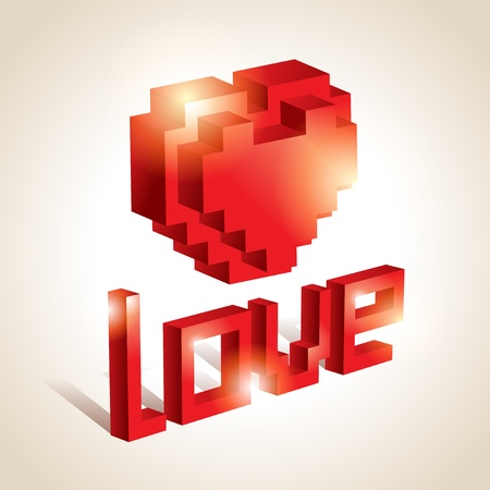 3D Lettering LOVE. For themes like love, valentine Vector