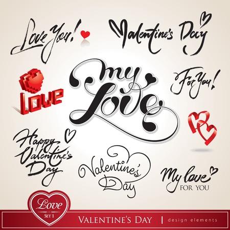 San Valentino. Set di titoli calligrafici di San Valentino con cuori. Illustrazione vettoriale. Vettoriali
