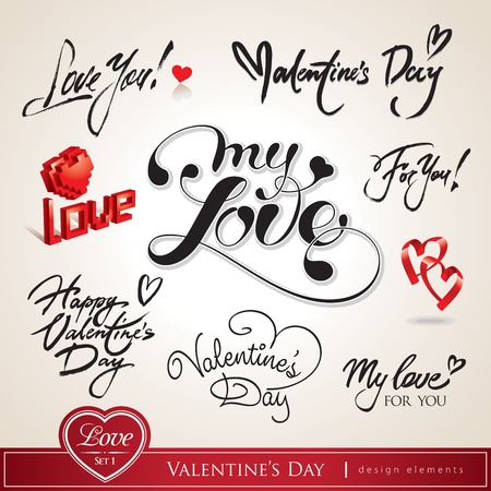 love words: Valentines Day. Set of Valentines calligraphic headlines with hearts. Vector illustration.