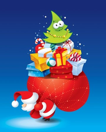 Christmas card with Santa and lots of gifts in a colorful packaging on a blue background. Vector illustration.