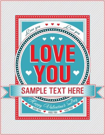 ビンテージ バレンタイン カード。ベクトル イラスト。  イラスト・ベクター素材